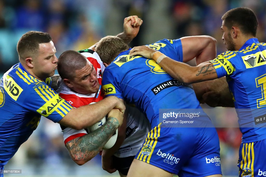 Russell Packer of the Dragons is tackled during the round 15 NRL match between the Parramatta Eels and the St George Illawarra Dragons at ANZ Stadium on June 18, 2017 in Sydney, Australia.