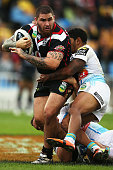 Russell Packer of the Warriors charges forward during the round eight NRL match between the New Zealand Warriors and the Gold Coast Titans at Mt...