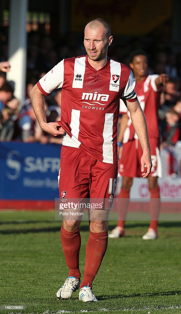 Russell Penn of Cheltenham Town in action during the npower League Two Play Off Semi Final Second Leg between Cheltenham Town and Northampton Town at Abbey Business Stadium on May 5, 2013 in Cheltenham, England.
