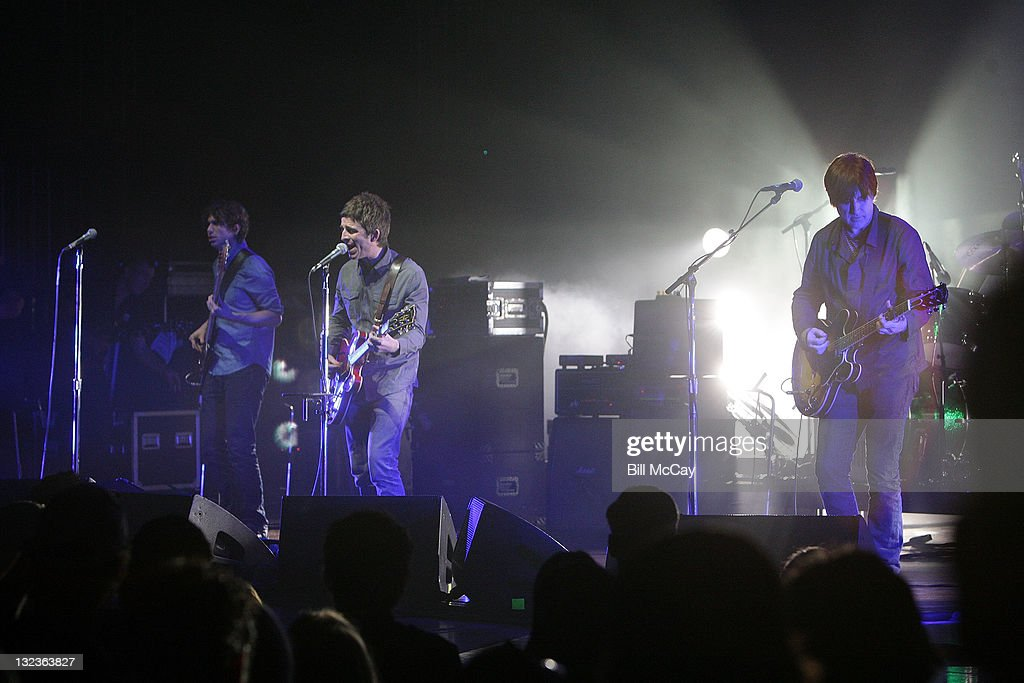 Russell Pritchard, Noel Gallagher and David McDonnell of Noel Gallagher's High Flying Birds perform at the Academy of Music November 11, 2011 in Philadelphia, Pennsylvania.