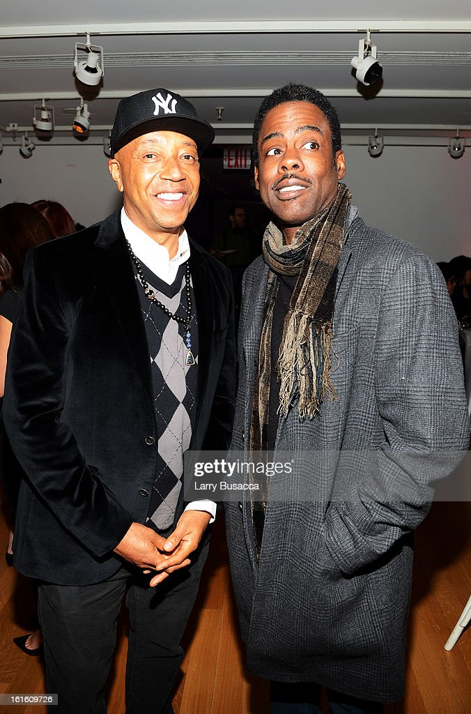 Russell Simmons and actor Chris Rock attend the after party following the premiere of the HBO Documentary Film 'Beyonce: Life Is But A Dream' at Christie's on February 12, 2013 in New York City.