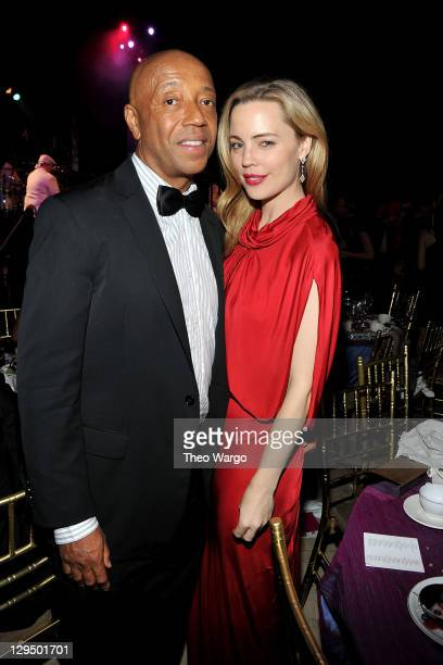 Russell Simmons and actress Melissa George attend Gabrielle's Angel Foundation for Cancer Research Hosts Angel Ball 2011 at Cipriani Wall Street on...