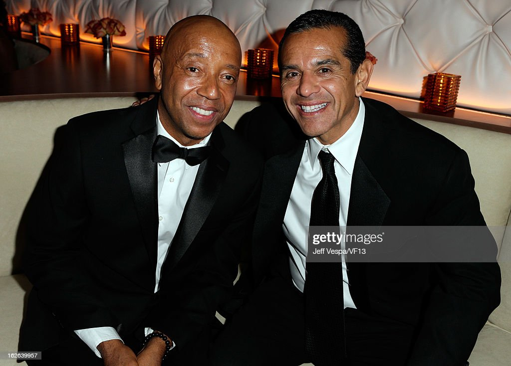 Russell Simmons and Antonio Villaraigosa attend the 2013 Vanity Fair Oscar Party hosted by Graydon Carter at Sunset Tower on February 24, 2013 in West Hollywood, California.