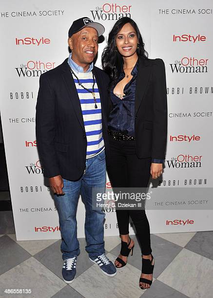 Russell Simmons and guest attend The Cinema Society Bobbi Brown With InStyle screening of 'The Other Woman' at The Paley Center for Media on April 24...