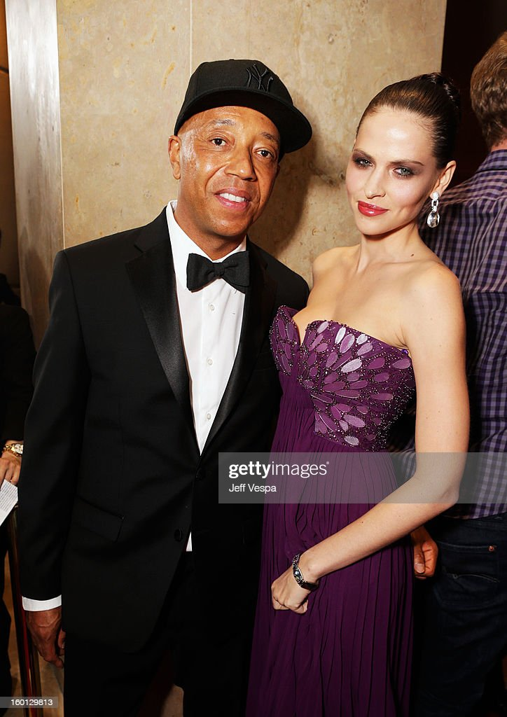 Russell Simmons and Hana Nitsche arrive at the 24th Annual Producers Guild Awards held at The Beverly Hilton Hotel on January 26, 2013 in Beverly Hills, California.