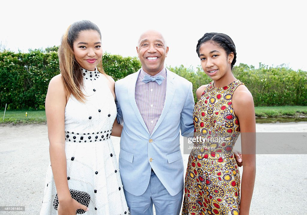 Russell Simmons and his daughters Ming Lee and Aoki Lee attend as Russell Simmons' Rush Philanthropic Arts Foundation Celebrates 20th Anniversary At...