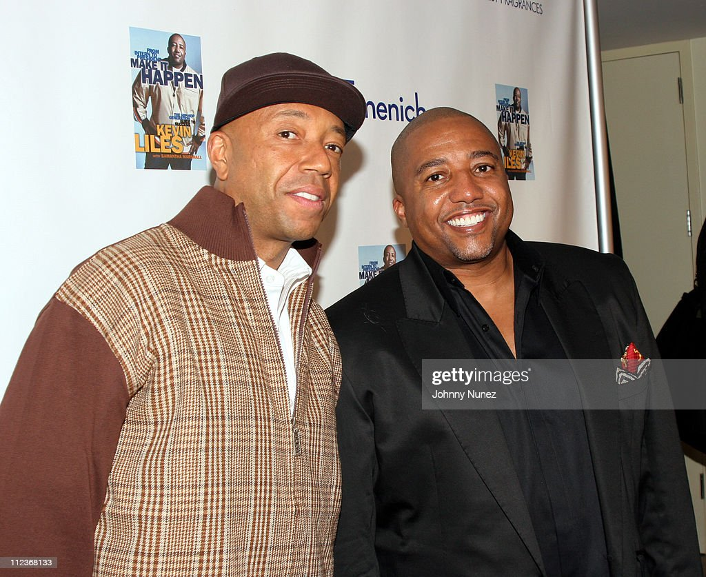 Russell Simmons and Kevin Liles during Kevin Liles Celebrates the Release of His Book 'Make It Happen: The Hip-Hop Guide To Success' at Firmenich in New York, New York, United States.