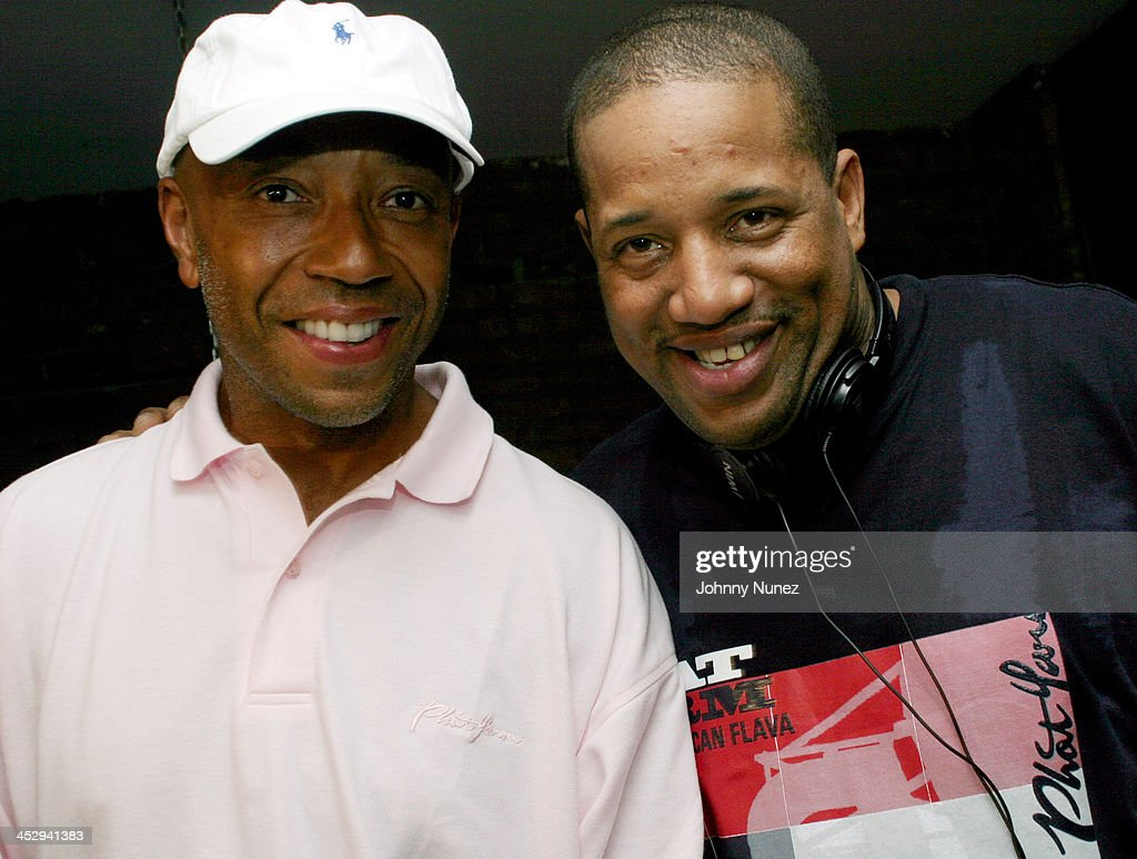 Russell Simmons and Lovebug Starski during House of Courvoisier and Phat Farm presents the Phat Classics Flavas Party New York City at Villa in New York City, New York, United States.