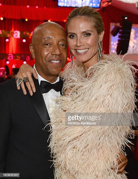 Russell Simmons and model Heidi Klum attend the 21st Annual Elton John AIDS Foundation Academy Awards Viewing Party at West Hollywood Park on...