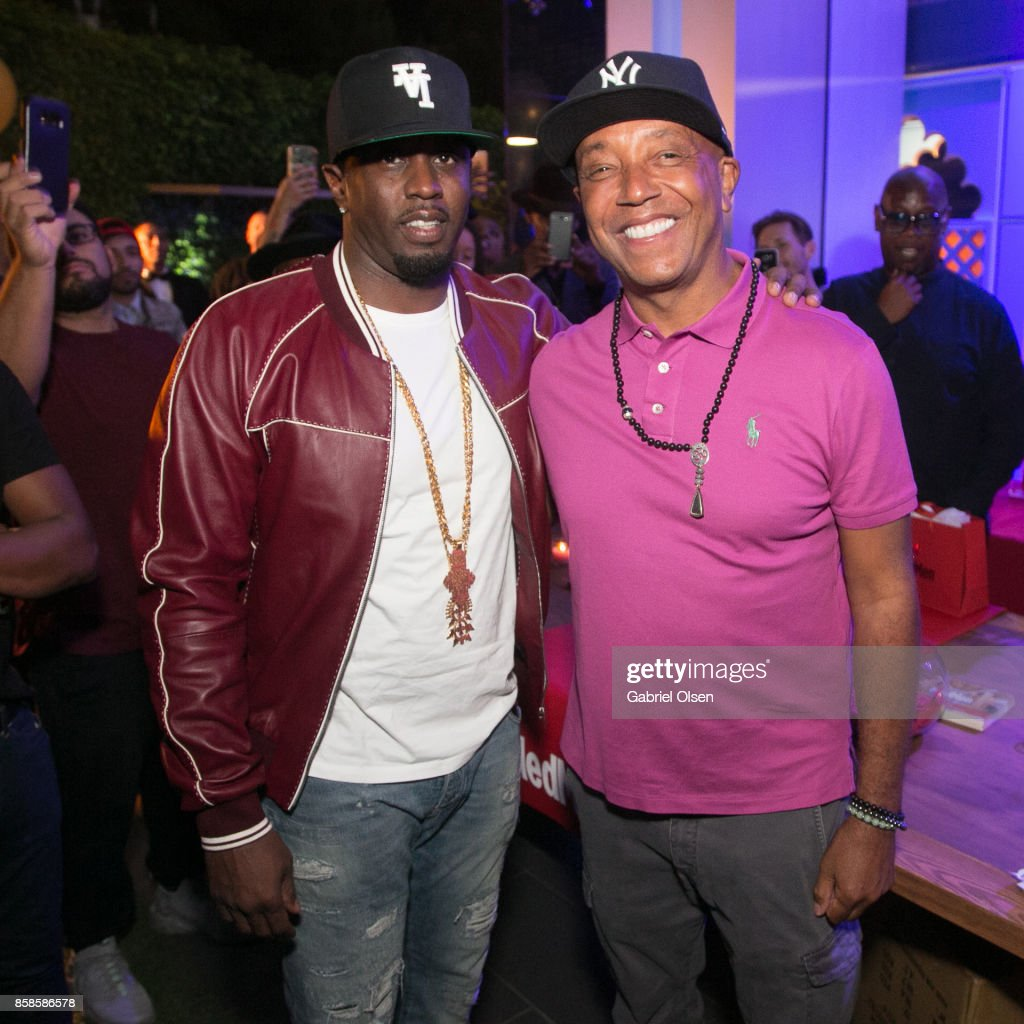 Russell Simmons (R) and Sean Diddy Combs attend Russell Simmons' 60th Birthday Party at his Tantris Yoga Center on October 6, 2017 in West Hollywood, California.