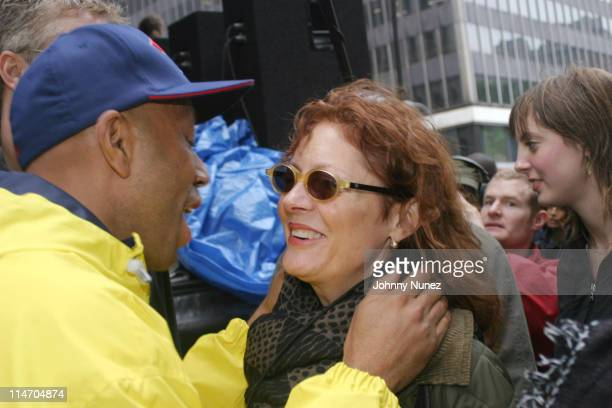 Russell Simmons and Susan Sarandon during The New York City Hip Hop Summit Rally for the Repeal of the Rockefeller Drug Laws at City Hall in New York...