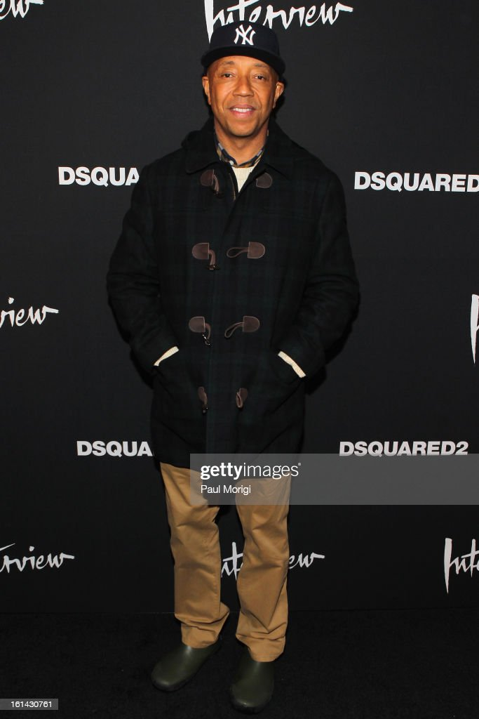 <a gi-track='captionPersonalityLinkClicked' href=/galleries/search?phrase=Russell+Simmons&family=editorial&specificpeople=202479 ng-click='$event.stopPropagation()'>Russell Simmons</a> arrives to DSquared2 and Interview Magazine's premiere screening of 'Behind The Mirror': Spring Summer 2013 Campaign at Copacabana on February 10, 2013 in New York City.