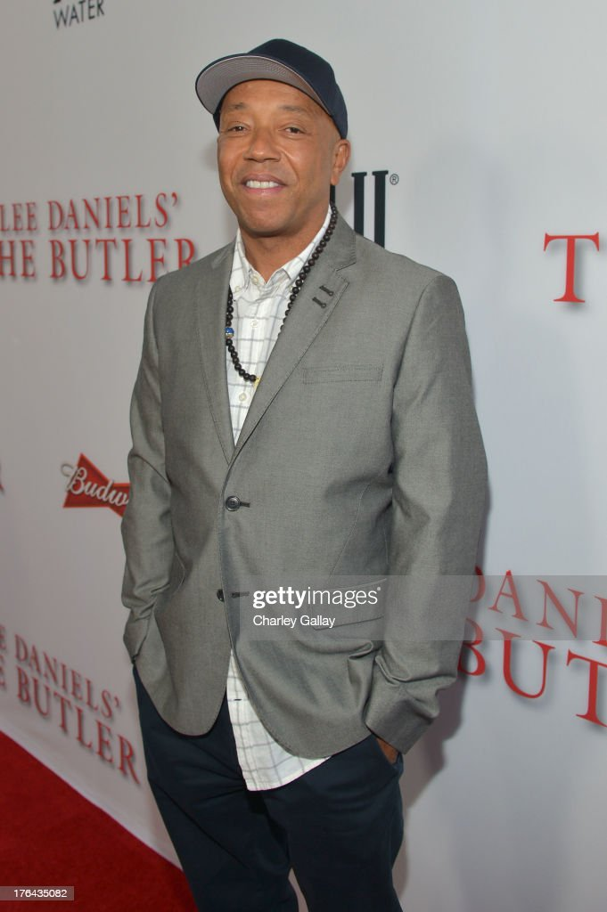 <a gi-track='captionPersonalityLinkClicked' href=/galleries/search?phrase=Russell+Simmons&family=editorial&specificpeople=202479 ng-click='$event.stopPropagation()'>Russell Simmons</a> attends LEE DANIELS' THE BUTLER Los Angeles premiere, hosted by TWC, Budweiser and FIJI Water, Purity Vodka and Stack Wines, held at Regal Cinemas L.A. Live on August 12, 2013 in Los Angeles, California.