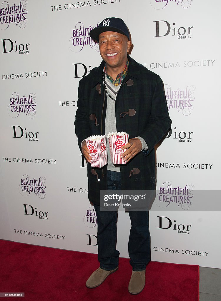 <a gi-track='captionPersonalityLinkClicked' href=/galleries/search?phrase=Russell+Simmons&family=editorial&specificpeople=202479 ng-click='$event.stopPropagation()'>Russell Simmons</a> attends The Cinema Society And Dior Beauty Presents A Screening Of 'Beautiful Creatures' at Tribeca Cinemas on February 11, 2013 in New York City.