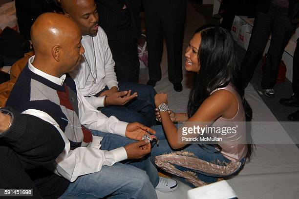 Russell Simmons Damon Dash and Kimora Lee Simmons attend Child Magazine Fashion Show at The Atelier Tent at Bryant Park on February 7 2005 in New...