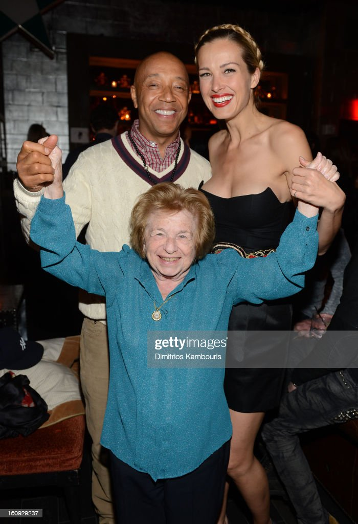<a gi-track='captionPersonalityLinkClicked' href=/galleries/search?phrase=Russell+Simmons&family=editorial&specificpeople=202479 ng-click='$event.stopPropagation()'>Russell Simmons</a>, Dr. Ruth Westheimer, and Petra Nemcova attend the La Perla After Party Hosted By DeLeon Tequila at The Electric Room on February 7, 2013 in New York City.