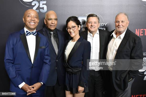 Russell Simmons Stan Lathan Lisa Nishimura Ted Sarandos and Sandy Wernick attend Netflix Presents Def Comedy Jam 25 at The Beverly Hilton Hotel on...