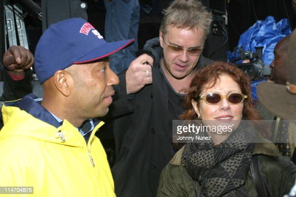 Russell Simmons Tim Robbins and Susan Sarandon during The New York City Hip Hop Summit Rally for the Repeal of the Rockefeller Drug Laws at City Hall...