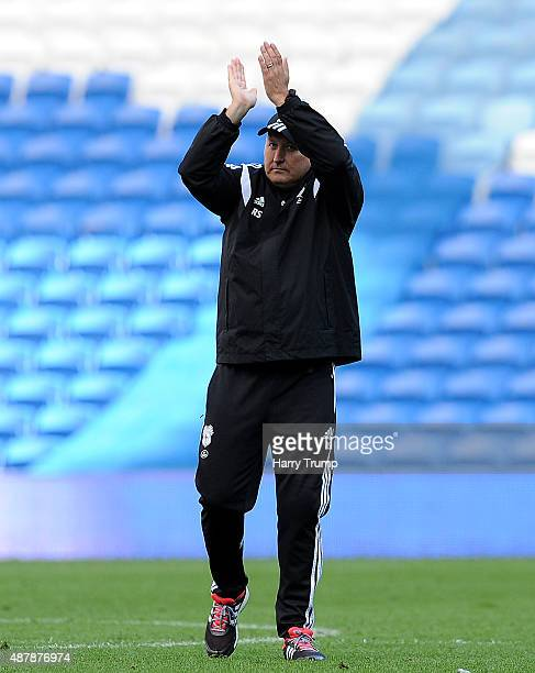 Russell Slade Manager of Cardiff City celebrates his sides victory during the Sky Bet Championship match between Cardiff City and Huddersfield at...