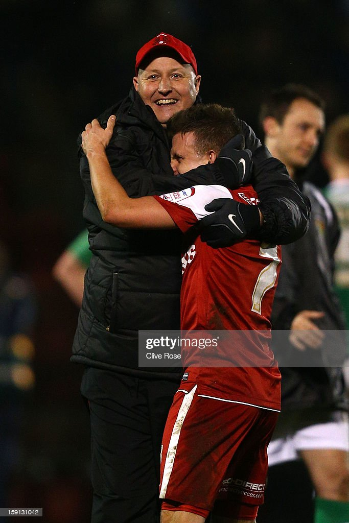 Russell Slade of Leyton Orient celebrates at the final whistle during the Johnstone's Paint Trophy southern section semi final between Leyton Orient and Yeovil Town at the Matchroom Stadium on January 8, 2013 in London, England.