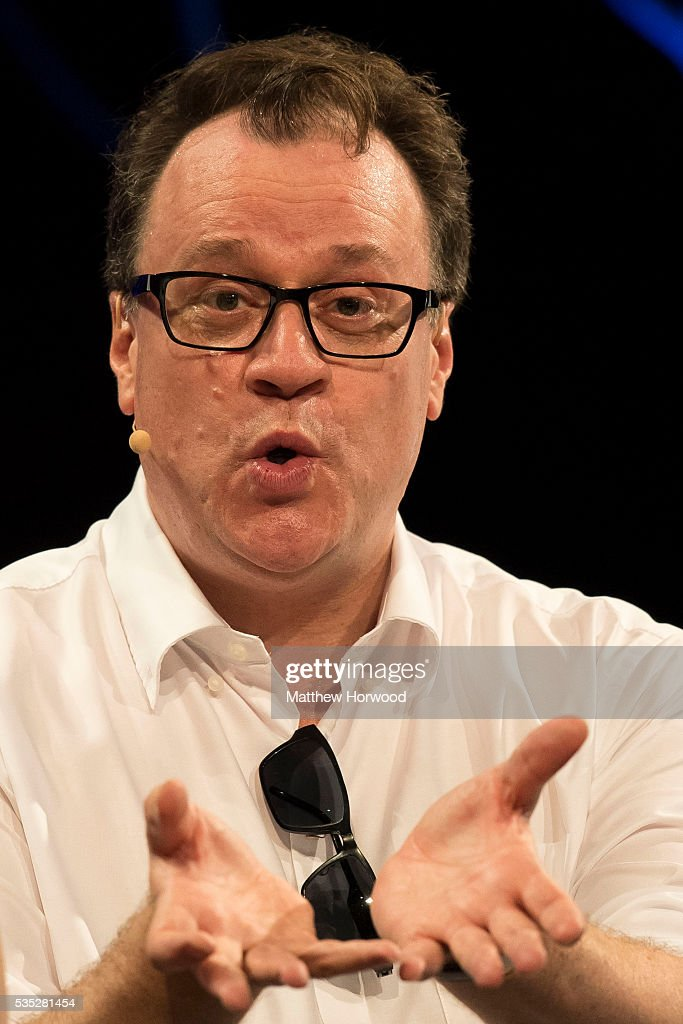 Russell T Davies, Welsh television producer and screenwriter whose work includes the 2005 revival of Doctor Who, during the 2016 Hay Festival on May 29, 2016 in Hay-on-Wye, Wales. The Hay Festival is an annual festival of literature and arts now in its 29th year.