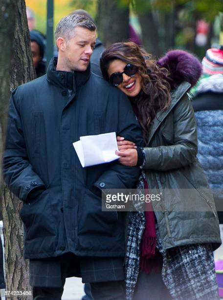 Russell Tovey and Priyanka Chopra are seen filming ABC's 'Quantico' in Midtown on November 14 2017 in New York City