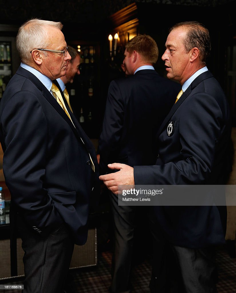 Russell Weir, Captain of the Great Britain and Ireland PGA Cup team talks to Jon Bevan, Vice-Captain ahead of the opening ceremony ahead of the 26th PGA Cup at De Vere Slaley Hall on September 19, 2013 in Hexham, England.