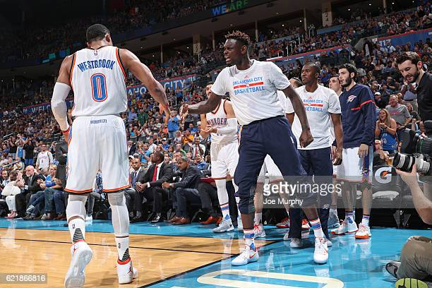 Russell Westbrook and Anthony Morrow of the Oklahoma City Thunder react during the game against the Phoenix Suns on October 28 2016 at the Chesapeake...