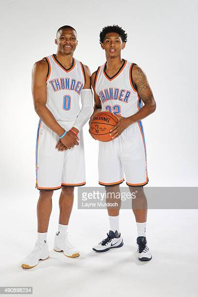 Russell Westbrook and Cameron Payne of the Oklahoma City Thunder pose for a portrait during 2015 NBA Media Day on September 28 2015 at the Thunder...