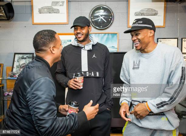 Russell Westbrook and Carmelo Anthony of the Oklahoma City Thunder attends the release of Russell Westbrook's Honor The Gift apparel line at Penn...