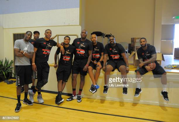 Russell Westbrook and friends attend the Russell Westbrook 5th Annual Why Not Foundation Basketball Camp at Jesse Owens Community Regional Park on...