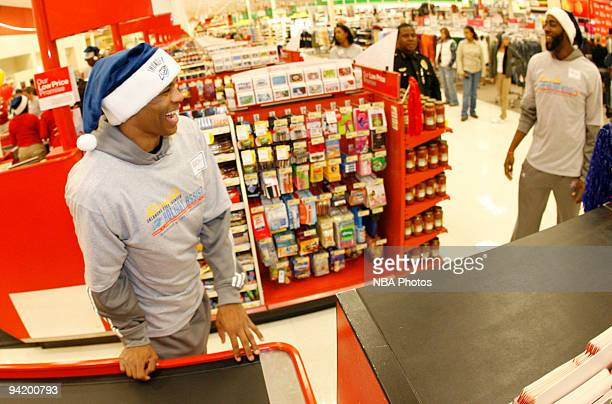 Russell Westbrook and James Harden of the Oklahoma City Thunder along with players and coaches from the Oklahoma City Thunder host a shopping spree...