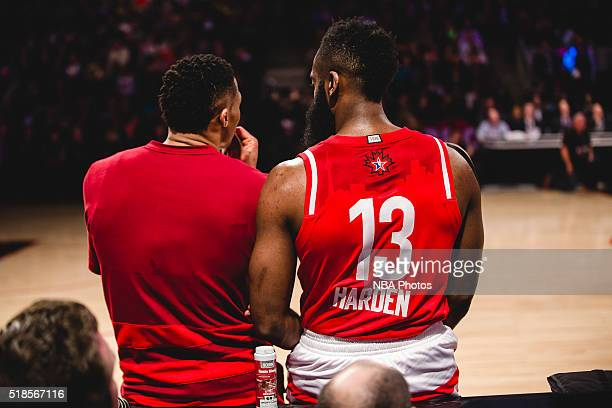 Russell Westbrook and James Harden of the Western Conference talk during the NBA AllStar Game as part of the 2016 NBA AllStar Weekend on February 14...