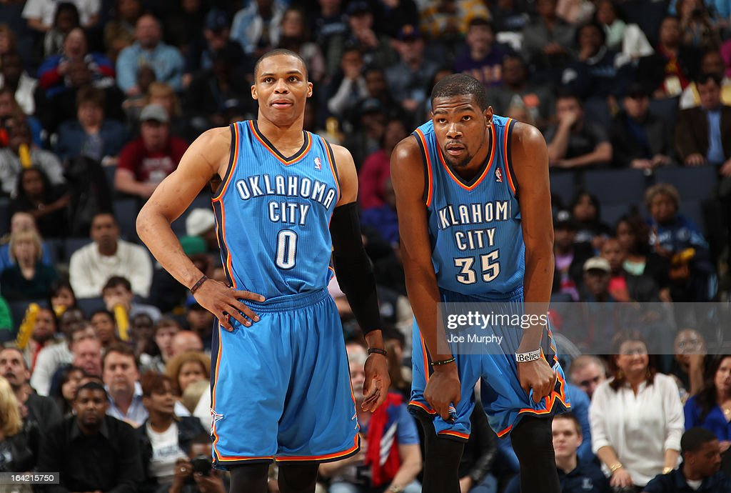 <a gi-track='captionPersonalityLinkClicked' href=/galleries/search?phrase=Russell+Westbrook&family=editorial&specificpeople=4044231 ng-click='$event.stopPropagation()'>Russell Westbrook</a> #0 and <a gi-track='captionPersonalityLinkClicked' href=/galleries/search?phrase=Kevin+Durant&family=editorial&specificpeople=3847329 ng-click='$event.stopPropagation()'>Kevin Durant</a> #35 of the Oklahoma City Thunder look on during the game against the Memphis Grizzlies on March 20, 2013 at FedExForum in Memphis, Tennessee.