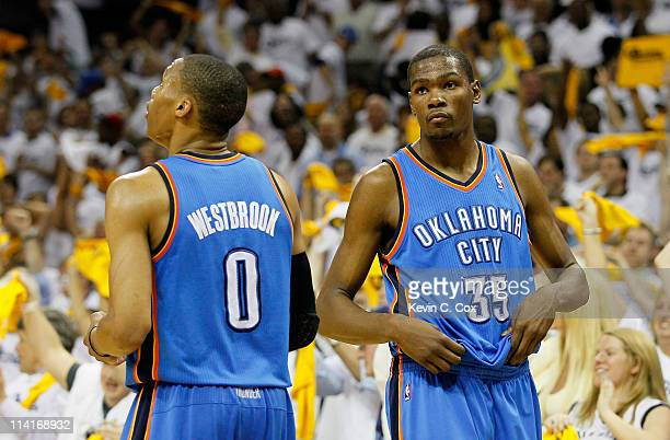 Russell Westbrook and Kevin Durant of the Oklahoma City Thunder react after their 9583 loss to the Memphis Grizzlies in Game Six of the Western...