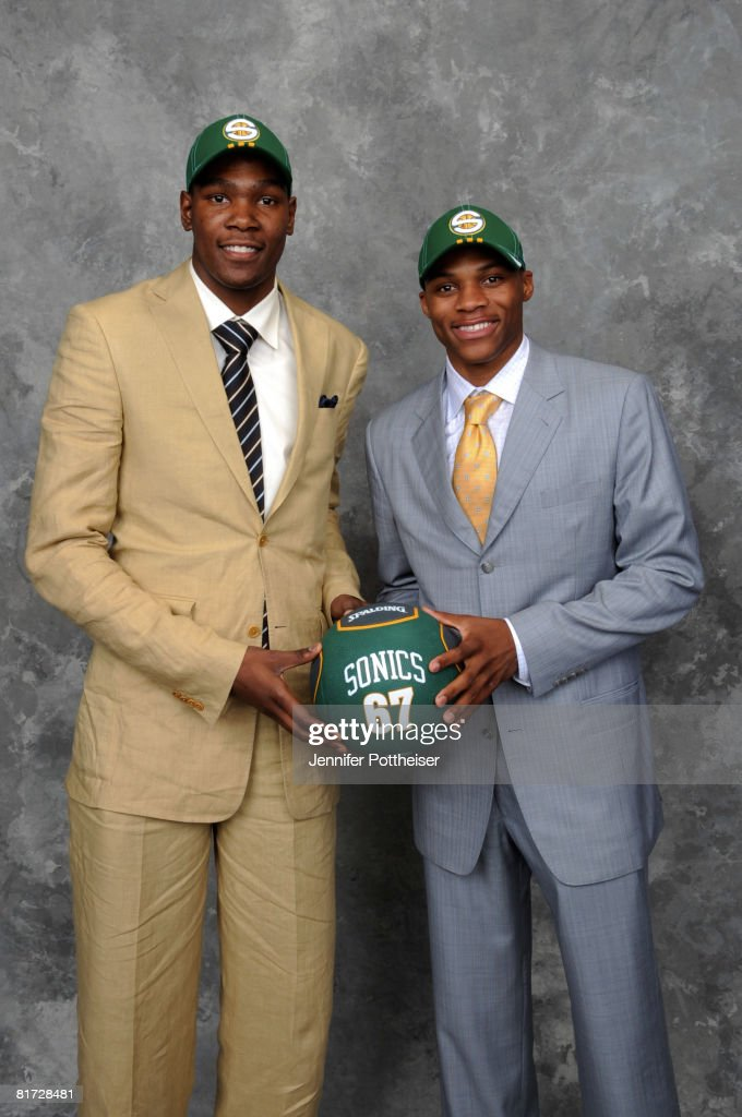 Russell Westbrook and <a gi-track='captionPersonalityLinkClicked' href=/galleries/search?phrase=Kevin+Durant&family=editorial&specificpeople=3847329 ng-click='$event.stopPropagation()'>Kevin Durant</a> of the Seattle superSonics pose for a portrait back stage during the 2008 NBA Draft on June 26, 2008 at the WaMu Theatre at Madison Square Garden in New York City.
