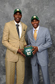 Russell Westbrook and Kevin Durant of the Seattle superSonics pose for a portrait back stage during the 2008 NBA Draft on June 26 2008 at the WaMu...
