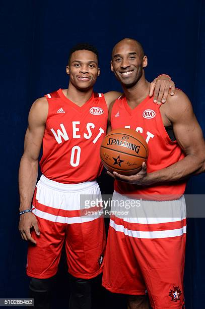 Russell Westbrook and Kobe Bryant of the Western Conference AllStars team pose for a portrait before the NBA AllStar Game on February 14 2016 at the...