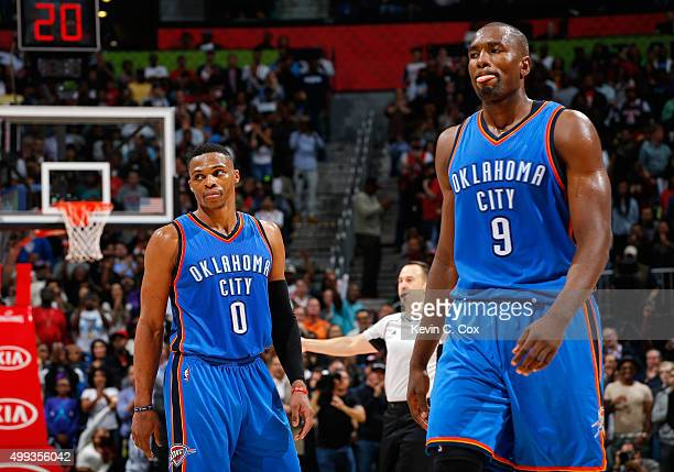 Russell Westbrook and Serge Ibaka of the Oklahoma City Thunder react in the final seconds of their 106100 loss to the Atlanta Hawks at Philips Arena...