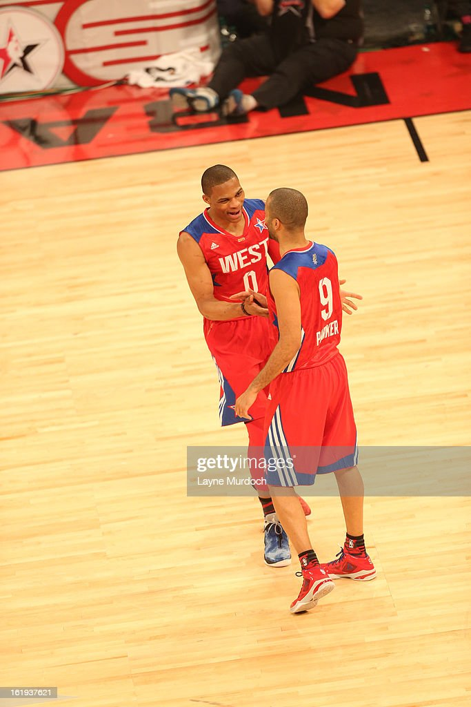 Russell Westbrook #0 and Tony Parker #9 of the Western Conference All-Stars high five each other during the 2013 NBA All-Star Game during All Star Weekend on February 17, 2013 at the Toyota Center in Houston, Texas.