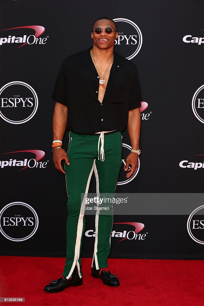 Russell Westbrook arrives at the 2017 ESPYS at Microsoft Theater on July 12, 2017 in Los Angeles, California.