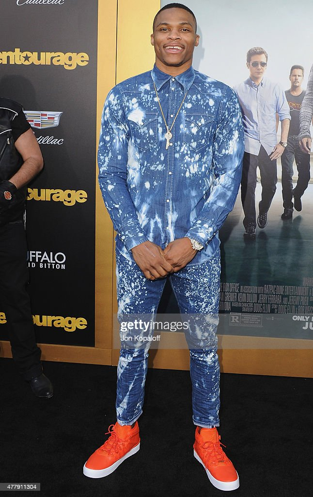 <a gi-track='captionPersonalityLinkClicked' href=/galleries/search?phrase=Russell+Westbrook&family=editorial&specificpeople=4044231 ng-click='$event.stopPropagation()'>Russell Westbrook</a> arrives at the Los Angeles Premiere 'Entourage' at Regency Village Theatre on June 1, 2015 in Westwood, California.