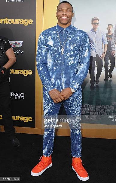 Russell Westbrook arrives at the Los Angeles Premiere 'Entourage' at Regency Village Theatre on June 1 2015 in Westwood California