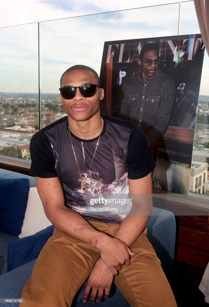 Russell Westbrook attends Flaunt Magazine and Samsung Galaxy celebrate The Plutocracy Issue release hosted by cover Russell Westbrook at Caulfield's Bar and Dining Room at Thompson Hotel on March 2, 2013 in Beverly Hills, California.