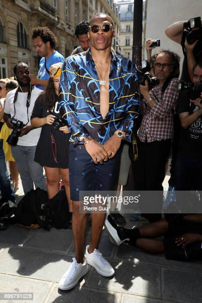 Russell Westbrook attends the Louis Vuitton Menswear Spring/Summer 2018 show as part of Paris Fashion Week on June 22 2017 in Paris France