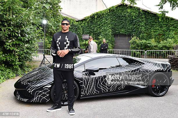 Russell Westbrook attends the Marcelo Burlon County of Milan show during the Milan Men's Fashion Week Spring/Summer 2016 on June 22 2015 in Milan...