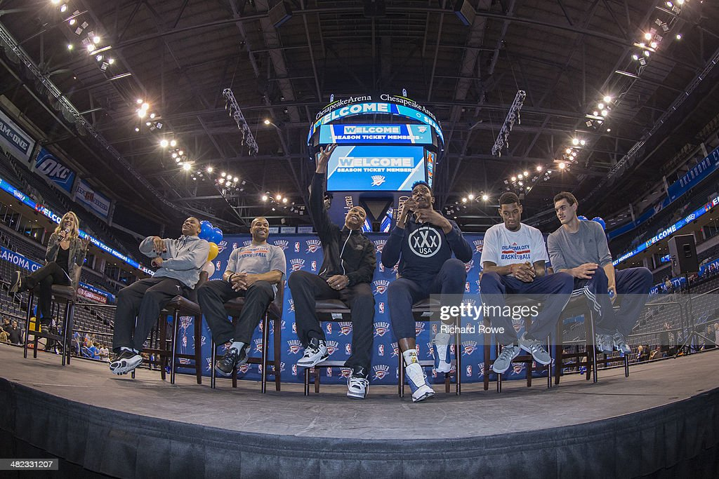 Russell Westbrook #0, Derek Fisher #6, Caron Butler #2, Hasheem Thabeet #34, Perry Jones #3, and Steven Adams #12 of the Oklahoma City Thunder during the annual season ticket holder event at the Chesapeake Arena on March 30, 2014 in Oklahoma City, Oklahoma.
