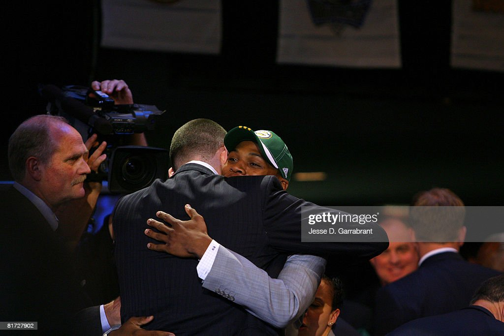 Russell Westbrook hugs Kevin Love after being selected fourth overall by the Seattle SuperSonics during the 2008 NBA Draft on June 26, 2008 at the WaMu Theatre at Madison Square Garden in New York City.