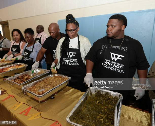 Russell Westbrook II Shannon Westbrooke and Raynard Westbrook attend Russell Westbrook Why Not Foundation 6th Annual Dinner on November 21 2017 in...