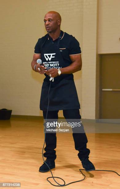 Russell Westbrook II speaks at Russell Westbrook Why Not Foundation 6th Annual Dinner on November 21 2017 in Los Angeles California